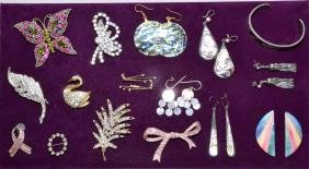 ASSORTED RHINSTONE PINS AND ABALONE JEWELRY BY ALPACA -