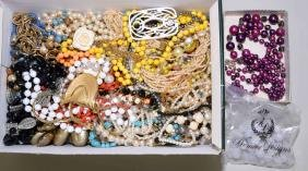 BOX OF ASSORTED BEADED & PEARL COSTUME JEWELRY -