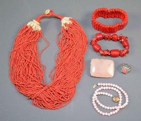 6pc ASSORTED CORAL JEWELRY - Includes multi-strand