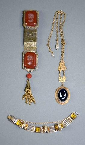 3pc ASSORTED ANTIQUE GOLD FILLED JEWELRY LOT - Includes