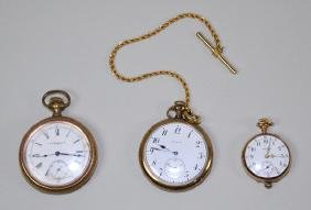 (3) GOLD FILLED POCKET WATCHES - Includes (2) Elgin and