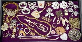 ASSORTED RHINESTONE COSTUME JEWELRY - Includes pins,