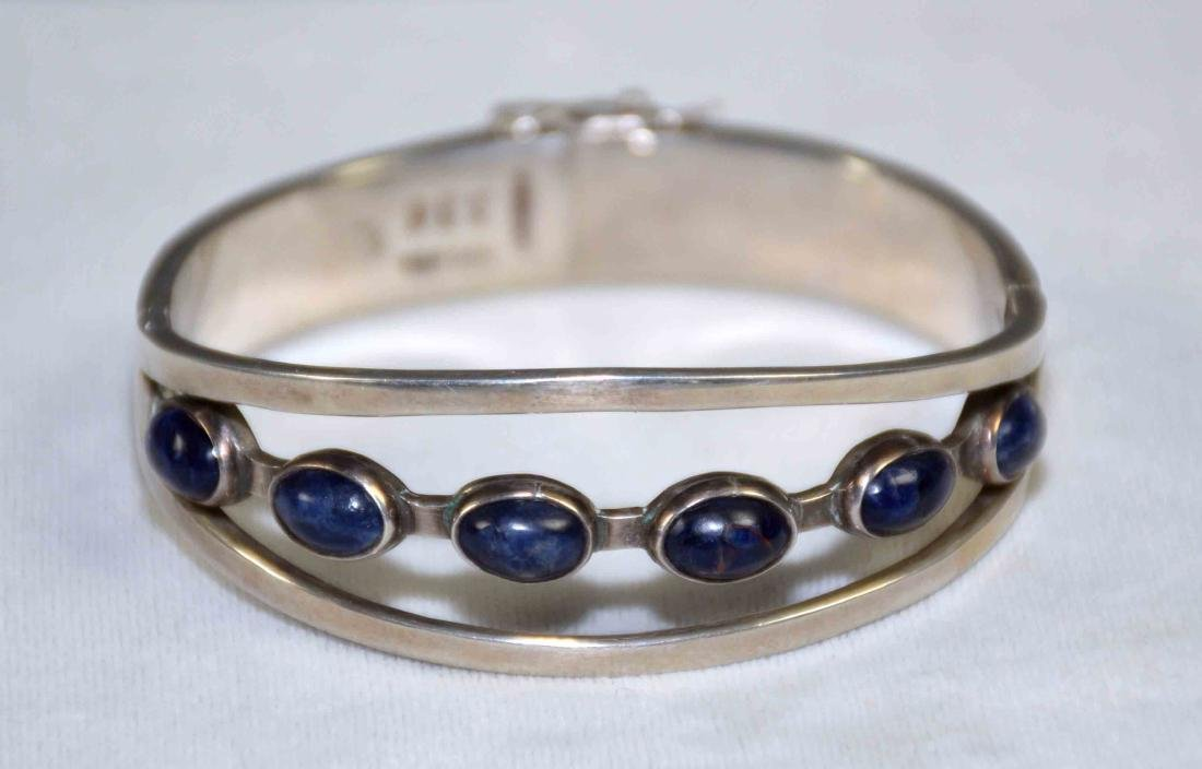MEXICAN STERLING & LAPIS BRACELET - Signed and stamped