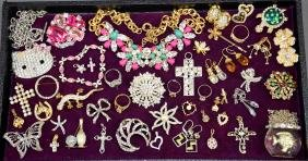 ASSORTED RHINESTONE COSTUME JEWELRY - Including pins,