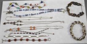 ASSORTED BRACELET AND NECKLACE LOT - Includes Sterling,