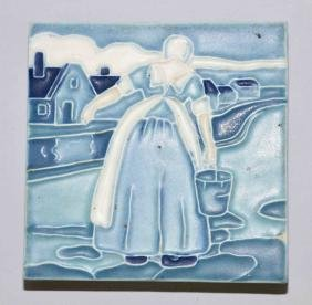 1919 ROOKWOOD POTTERY TEA TILE TRIVET #1819 DUTCH GIRL