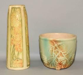 (2) ASSORTED POTTERY VASES - (1) Weller Pottery,