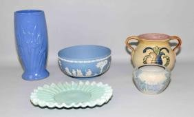 5pcs ASSORTED POTTERY - Includes (1) Wedgwood #79 blue