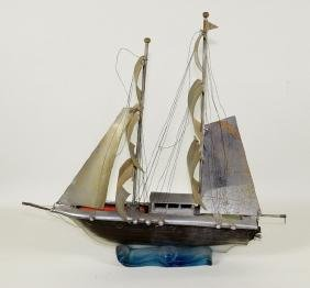 1950'S ART DECO SAILING SHIP - Lamp glass hull with