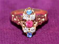 VICTORIAN 14k GOLD DIAMOND SAPPHIRE AND RUBY RING - Set