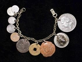 CHARM BRACELET - With assorted coins and tokens, US and