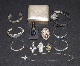 ASSORTED SILVER AND STERLING JEWELRY WITH A STERLING