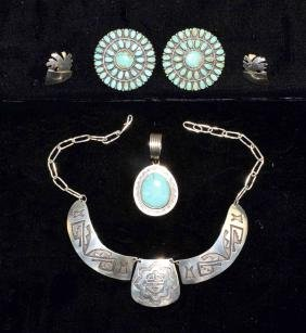 4pcs MEXICO STERLING AND TURQUOISE JEWELRY - A breast