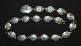 STERLING AND TURQUOISE LINK BELT - (18) oval silver