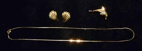 3pc 14k GOLD JEWELRY LOT  Includes pair of shell clip