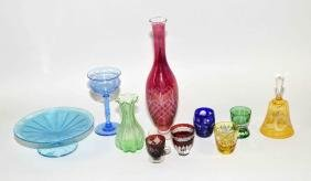 10pcs ASSORTED COLORED GLASSWARE - Including toothpick