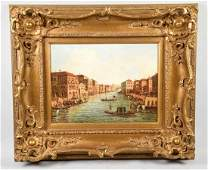 OIL ON CANVAS VENICE CANAL - Signed lower right