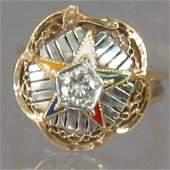 LADIE'S EASTERN STAR RING. Ring has an Eastern en