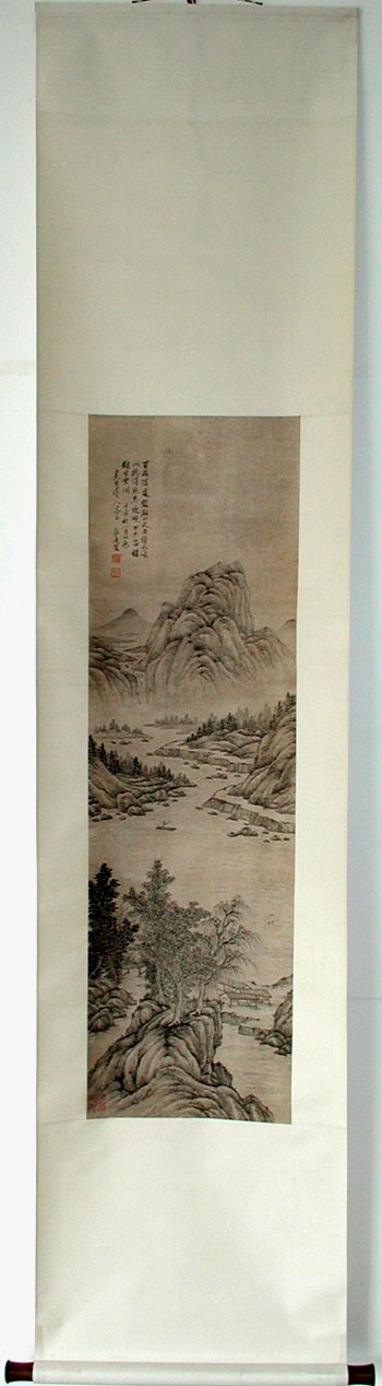 2678: CHINESE SCROLL LANDSCAPE.  Ink on paper, mounted