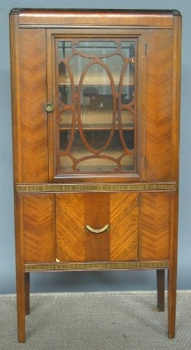 1940'S WATERFALL CHINA CABINET. Herringbone waln