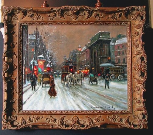 3511:  SIGNED EDOUARD CORTES CHATELET OIL.