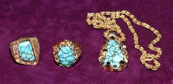 TURQUOISE AND 14K GOLD COLLECTION. Consisting of