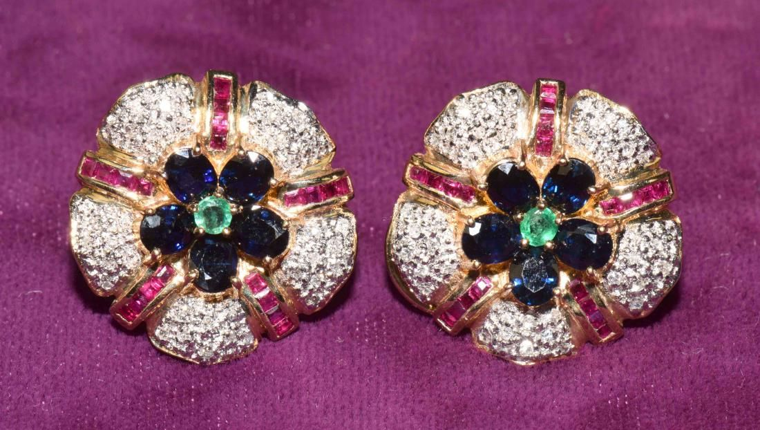 PAIR OF DIAMOND, RUBY, SAPPHIRE AND EMERALD EAR CLIPS,
