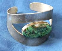 GREEN TURQUOISE AND STERLING MEXICAN CUFF, signed