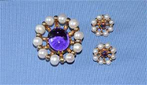 VERMEIL (.925) CULTURED PEARL AND AMETHYST CABOCHON