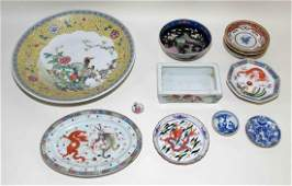 MISC ORIENTAL SHELF LOT  Including large bowl and set
