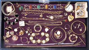 (30+) PCS. ASSORTED GOLD FILLED COSTUME JEWELRY.