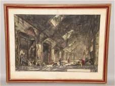 Francesco Piranesi hand-colored etching. Image size: