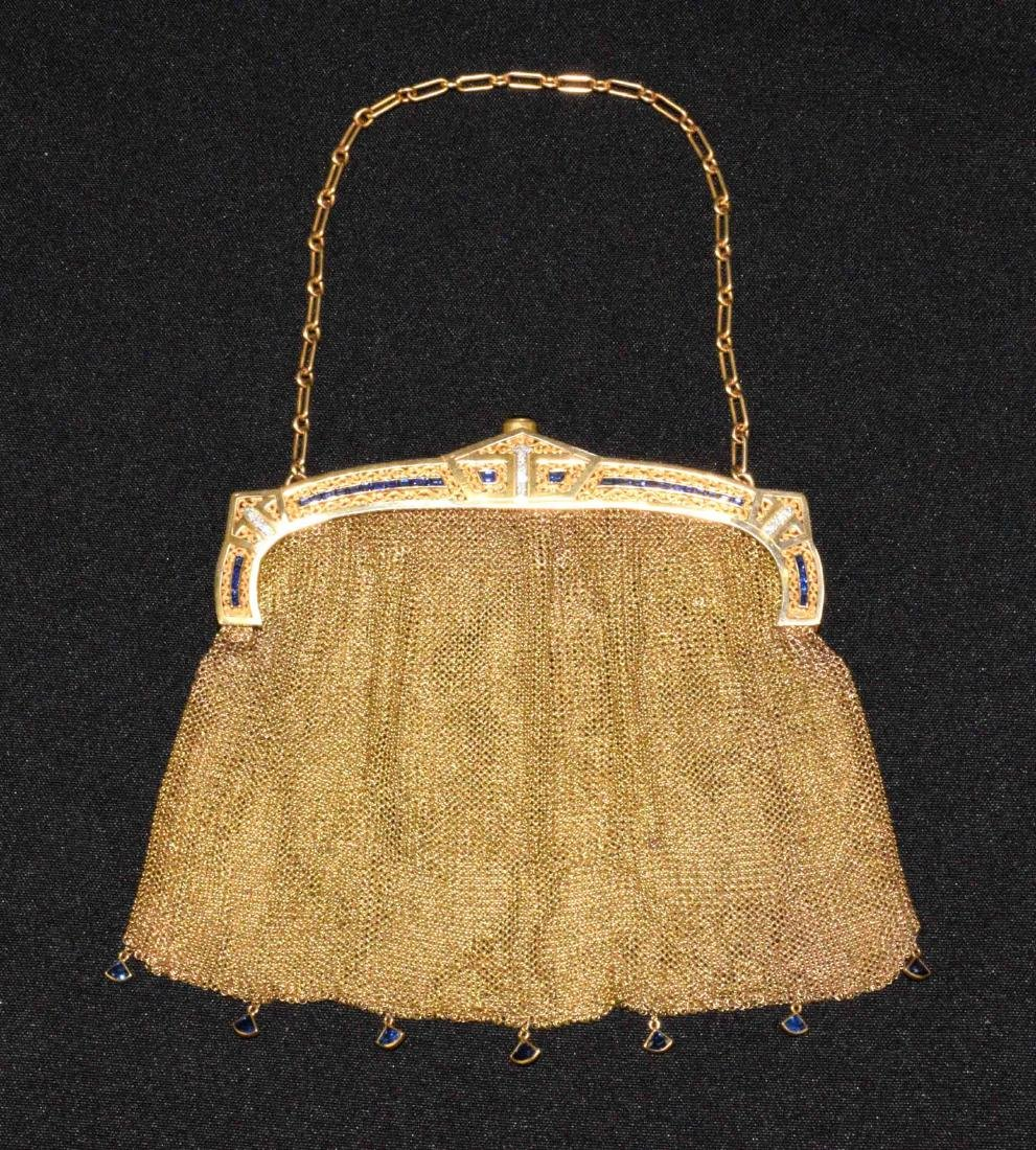 EVENING PURSE WITH CHAIN, 14 kt gold with (14) small