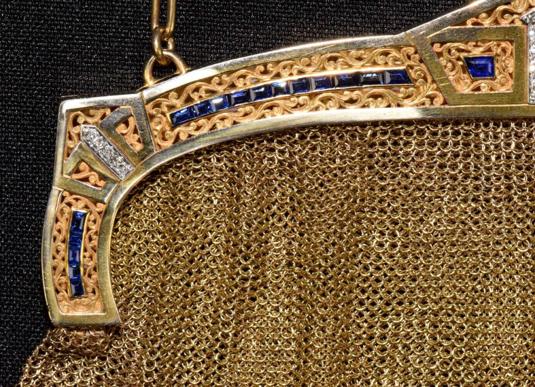 EVENING PURSE WITH CHAIN, 14 kt gold with (14) small - 3