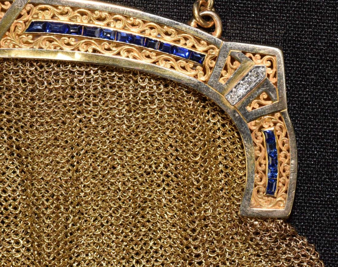 EVENING PURSE WITH CHAIN, 14 kt gold with (14) small - 4