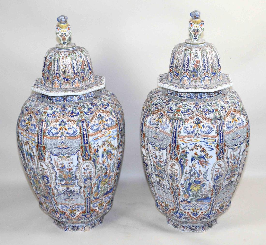 PAIR OF LARGE DELFT-STYLE VASES, hand painted in
