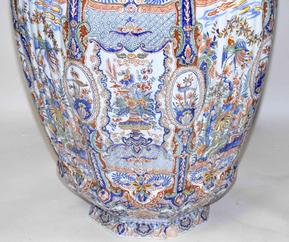 PAIR OF LARGE DELFT-STYLE VASES, hand painted in - 2