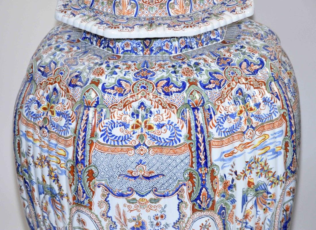 PAIR OF LARGE DELFT-STYLE VASES, hand painted in - 3