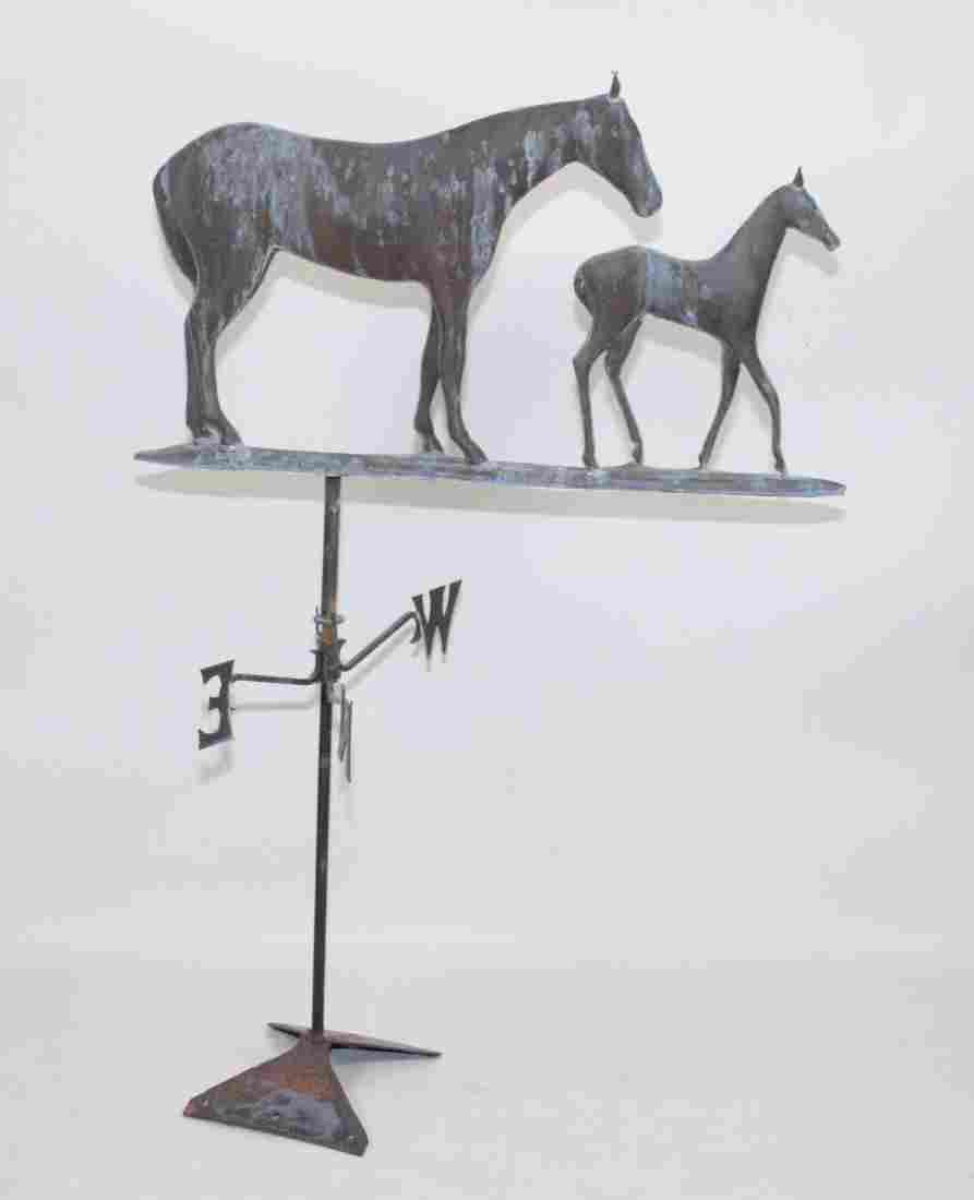 LATE 19TH - EARLY 20TH C. WEATHERVANE OF TWO HORSES