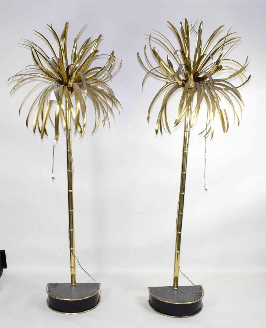 PAIR OF MID-20TH C. MODERNIST BRASS ''PALM TREES'' ON