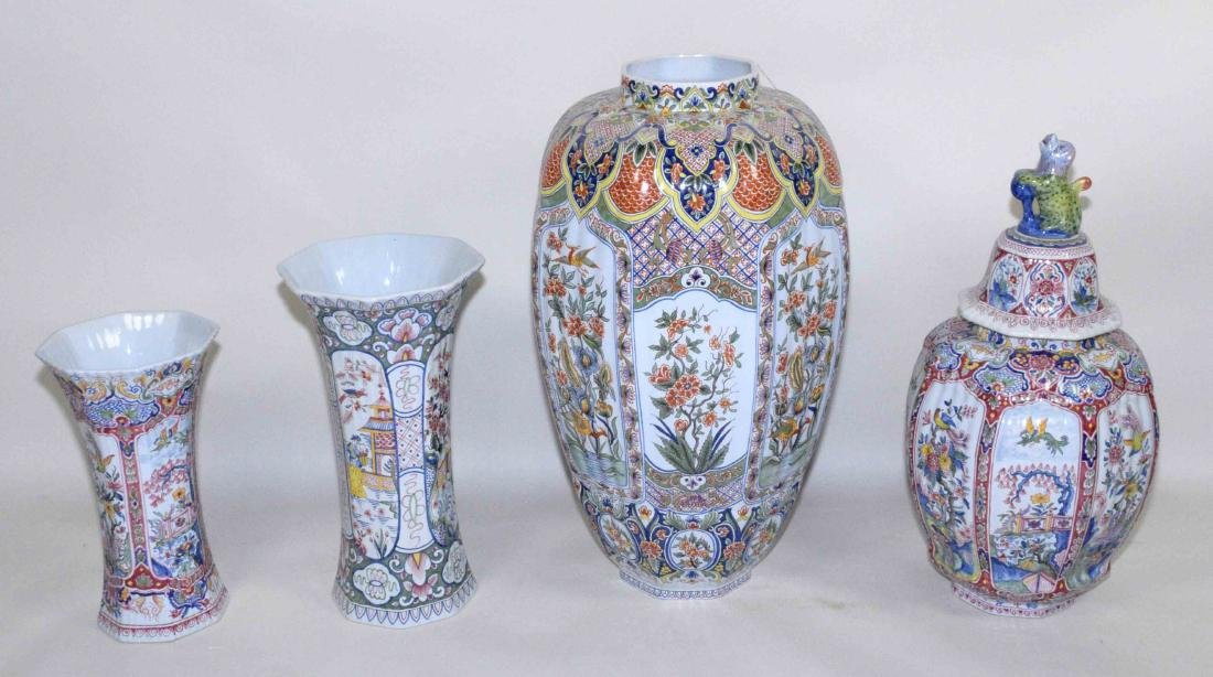 FOUR PIECE DELFT-STYLE VASES HAND-PAINTED IN CHINESE