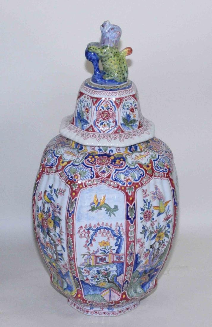 FOUR PIECE DELFT-STYLE VASES HAND-PAINTED IN CHINESE - 4