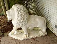 A PAIR OF LIFE-SIZE CARVED MARBLE STANDING ENTRY LIONS.