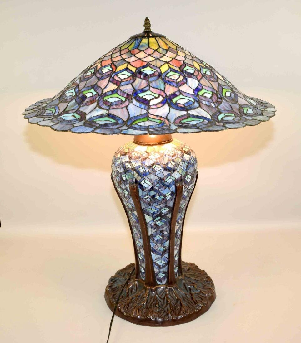 HIGH QUALITY REPRODUCTION OF TIFFANY PEACOCK LAMP with