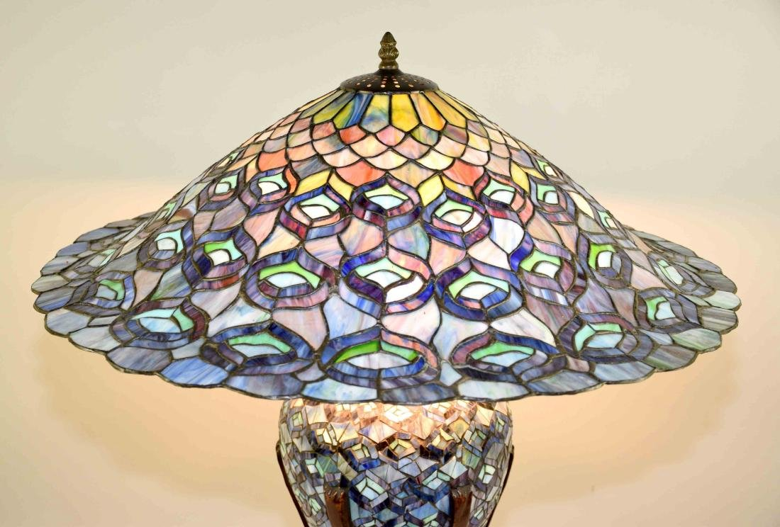 HIGH QUALITY REPRODUCTION OF TIFFANY PEACOCK LAMP with - 4