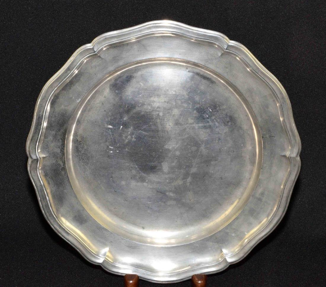 FRENCH PEWTER CHARGER, mid 18th C., 14'' diameter.