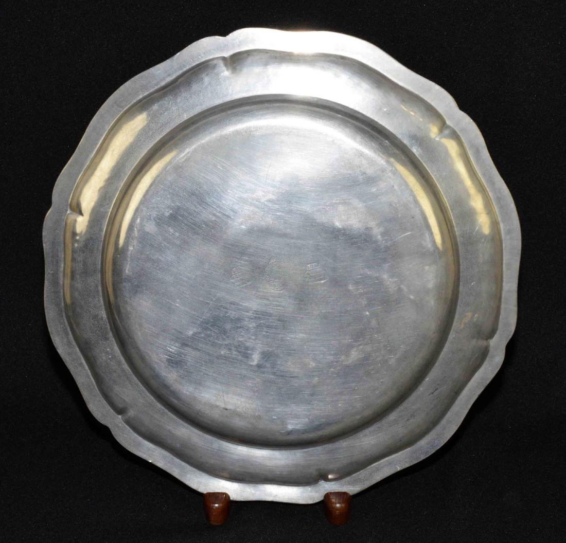 FRENCH PEWTER CHARGER, mid 18th C., 14'' diameter. - 3