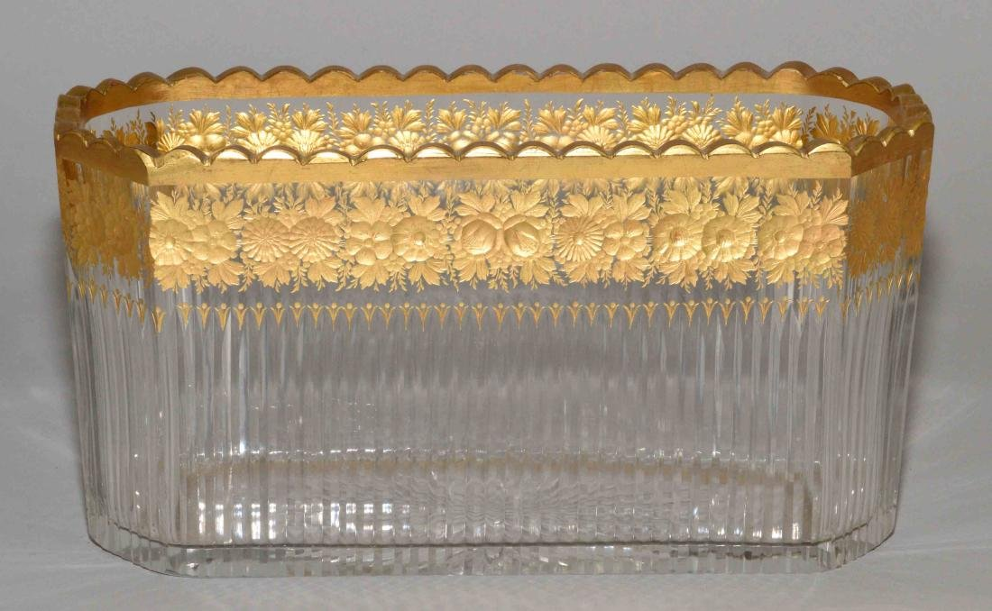 FRENCH GILT-DECORATED CUT GLASS DISH, early 20th C.,