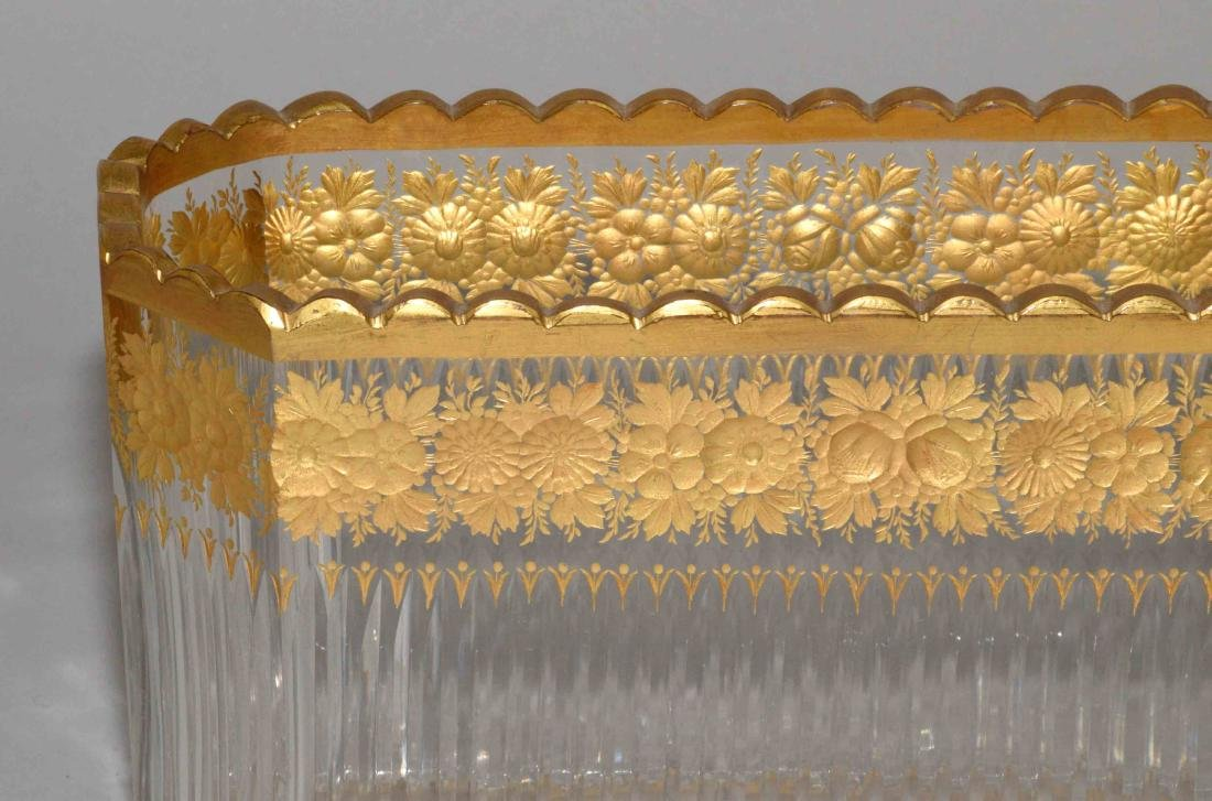 FRENCH GILT-DECORATED CUT GLASS DISH, early 20th C., - 2