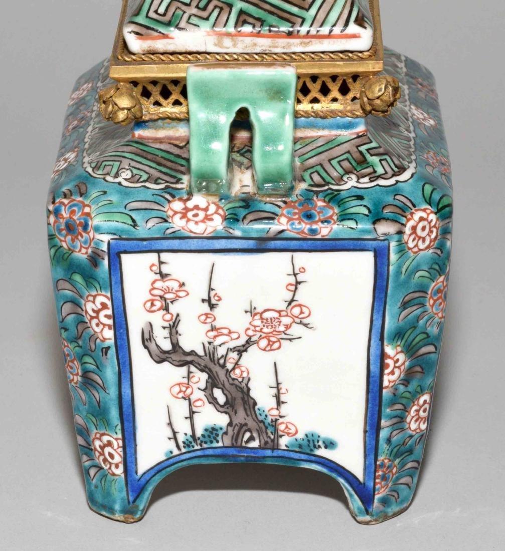 JAPANESE PORCELAIN INCENSE BURNER W/BRASS MOUNTS. 19th - 6